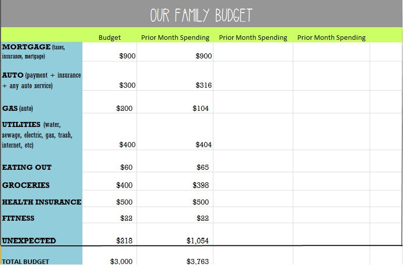 our family budget example deeply in debt